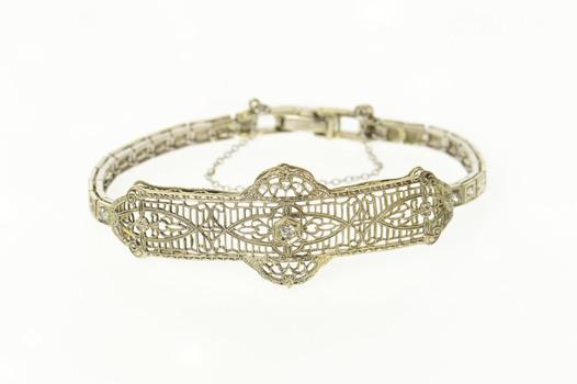 "14K Diamond Ornate Art Deco Filigree Statement White Gold Bracelet 5.5"""