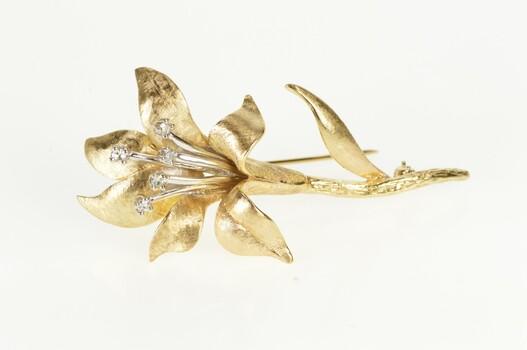 14K Diamond Ornate Lily Flower Retro 1960's Yellow Gold Pin/Brooch