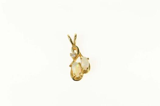 14K Diamond Oval Natural Opal Statement Yellow Gold Pendant