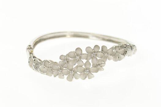 """14K Diamond Plumeria Flower Bangle Denny Wong White Gold Bracelet 7"""""""