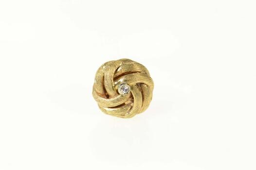 14K Diamond Retro Knot Twist Classic Lapel Yellow Gold Pin/Brooch