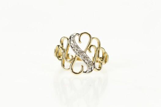14K Diamond Romantic Heart Filigree Promise Yellow Gold Ring, Size 6.5