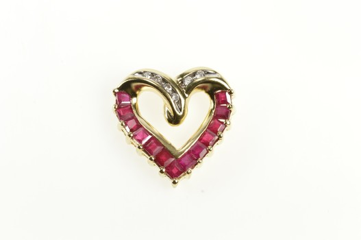 14K Diamond Rubellite Tourmaline Curvy Heart Yellow Gold Pendant