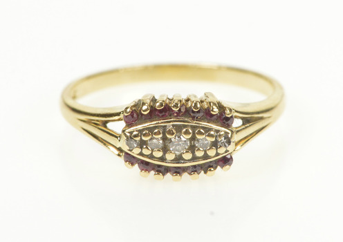 14K Diamond Ruby Accent Promise Engagement Yellow Gold Ring, Size 6.75