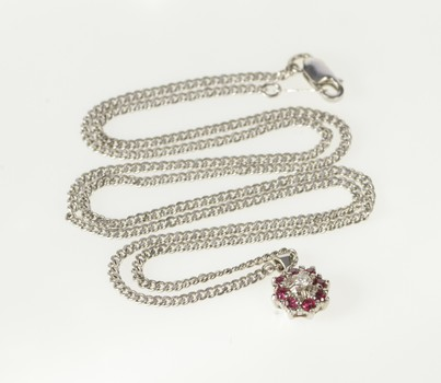 """14K Diamond Ruby Halo Cluster Cable Chain White Gold Necklace 17.75"""""""