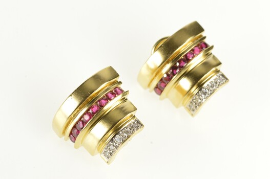 14K Diamond Ruby Tiered Ornate French Back Yellow Gold Earrings
