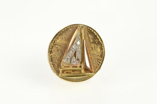 14K Diamond Sail Boat Victorian Slide Bracelet Yellow Gold Charm/Pendant