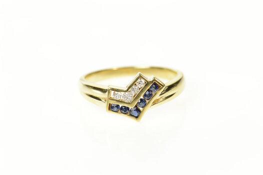 14K Diamond Sapphire Arrow Design Statement Yellow Gold Ring, Size 6