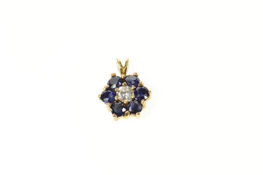 14K Diamond Sapphire Flower Halo Cluster Classic Yellow Gold Pendant
