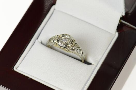 14K Diamond Solitaire Art Deco Diamond Engagement White Gold Ring, Size 6.5