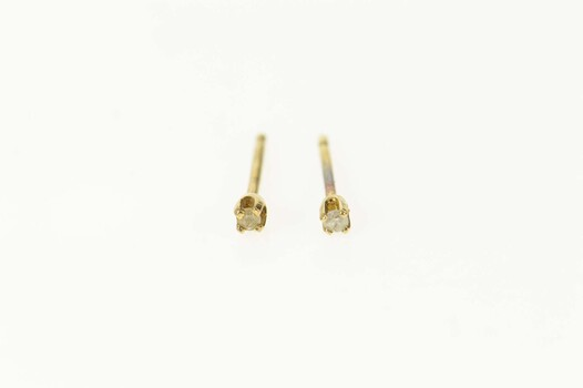 14K Diamond Solitaire Classic Simple Stud Yellow Gold Earrings