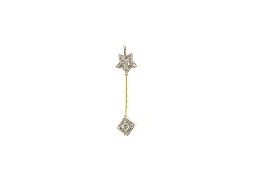 14K Diamond Square Star Bar Design Drop Yellow Gold Pendant