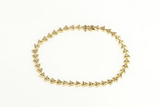 "14K Diamond Triangle Link Geometric Tennis Yellow Gold Bracelet 7.25"""
