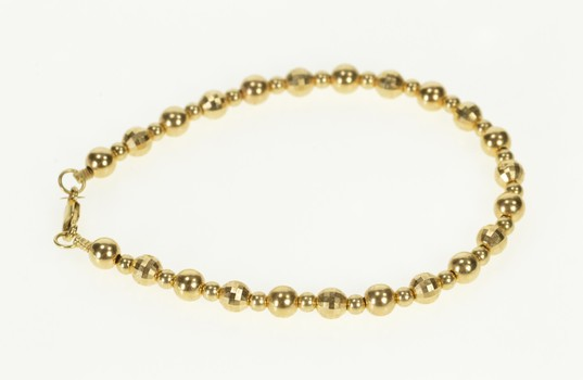 14K Disco Ball Bead Link Simple Statement Yellow Gold Bracelet 7.25""