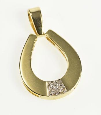 14K Door Knocker Diamond Inset Teardrop Pear Yellow Gold Pendant