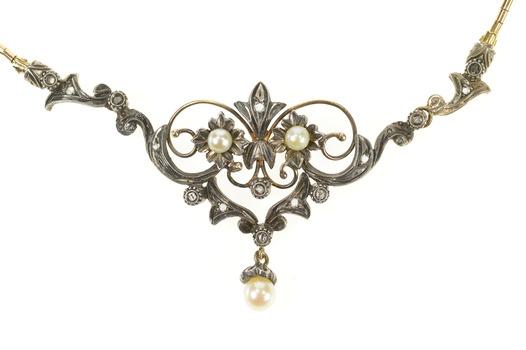 "14K Edwardian Diamond Pearl Scroll Pendant Yellow Gold Necklace 16.25"""