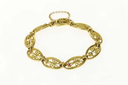 "14K Elaborate Retro Garnet Pearl Filigree Chain Yellow Gold Bracelet 7.75"""