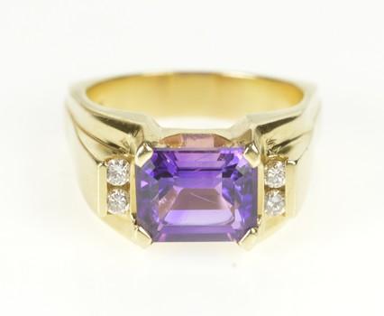 14K Emerald Cut Amethyst Diamond Accent Fashion Yellow Gold Ring, Size 8.5