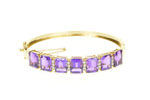 "14K Emerald Cut Amethyst Diamond Inset Bangle Yellow Gold Bracelet 7.25"""