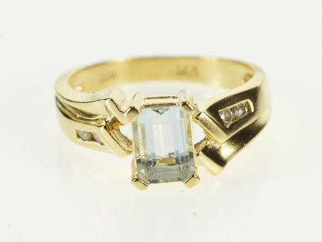 14K Emerald Cut Blue Topaz Diamond Accent Bypass Yellow Gold Ring, Size 5.75