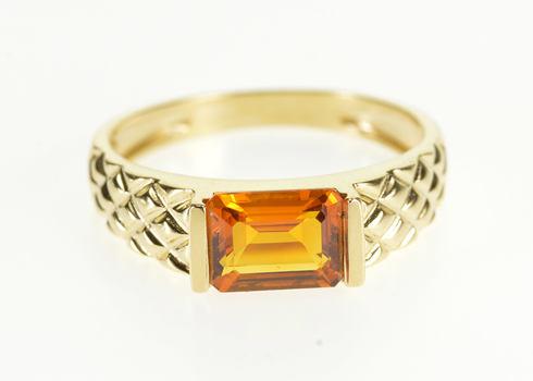 14K Emerald Cut Citrine Pressure Set Lattice Pattern Yellow Gold Ring, Size 9