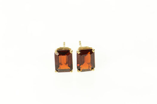 14K Emerald Cut Garnet Solitaire Classic Stud Yellow Gold Earrings