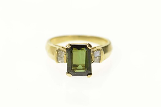 14K Emerald Cut Green Tourmaline Diamond Yellow Gold Ring, Size 5.75