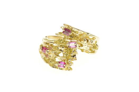 14K Emerald Cut Ruby Tree Branch Motif Statement Yellow Gold Ring, Size 5.75