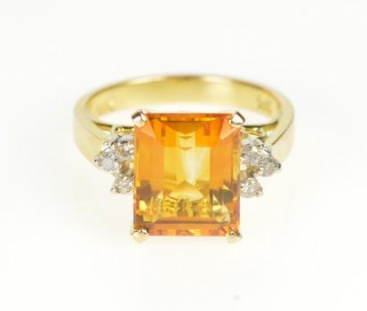 14K Emerald Cut Sim. Citrine Diamond Cocktail Yellow Gold Ring, Size 4.25