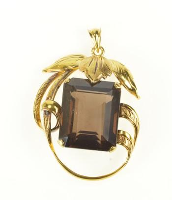 14K Emerald Cut Smokey Quartz Ornate Leaf Yellow Gold Pendant
