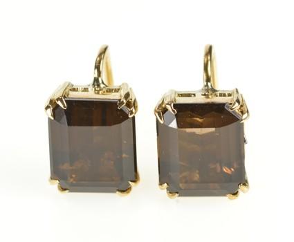 14K Emerald Cut Smoky Quartz Screw Back Yellow Gold Earrings