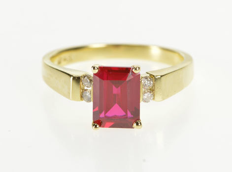 14K Emerald Cut Syn. Ruby Diamond Engagement Yellow Gold Ring, Size 6.75