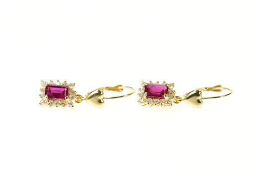 14K Emerald Cut Synthetic Ruby Diamond Halo Yellow Gold Earrings