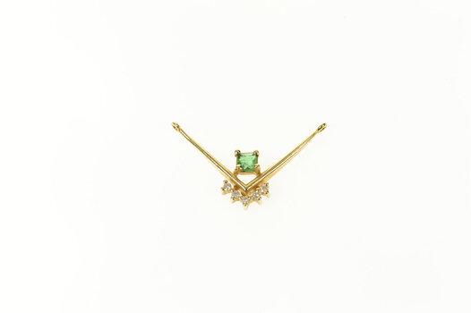 14K Emerald Diamond Accent Chevron Yellow Gold Pendant