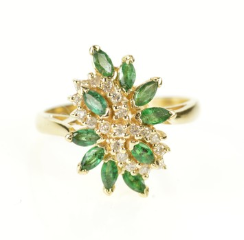 14K Emerald Diamond Infinity Cluster Statement Yellow Gold Ring, Size 9