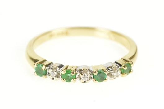 14K Emerald Diamond Unique Wedding Band Yellow Gold Ring, Size 6.75