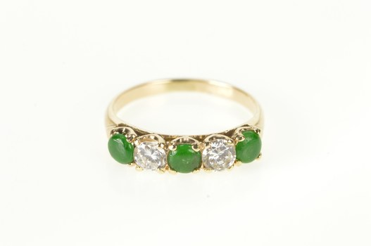14K Emerald Diamond Victorian Wedding Band Yellow Gold Ring, Size 6.25