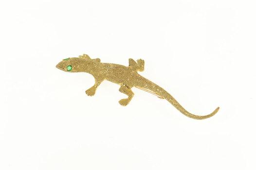 14K Emerald Eyed Lizard Textured Gecko Yellow Gold Pin/Brooch