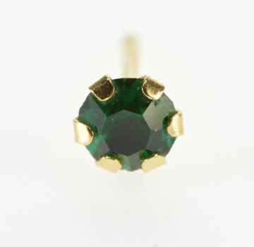14K Emerald* Round Prong Set Single Solitaire Yellow Gold EarRing