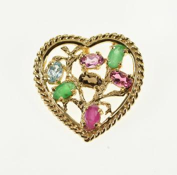 14K Emerald Ruby Pink Blue Topaz Smoky Quartz Heart Yellow Gold Pendant