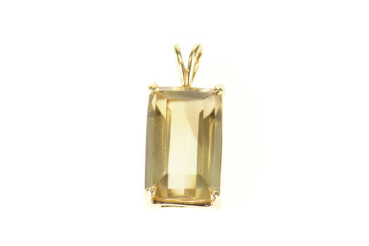 14K Emerald Smoky Quartz Solitaire Statement Yellow Gold Pendant