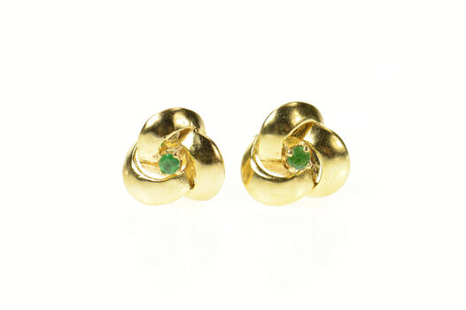 14K Emerald Solitaire Swirl Spiral Stud Yellow Gold Earrings