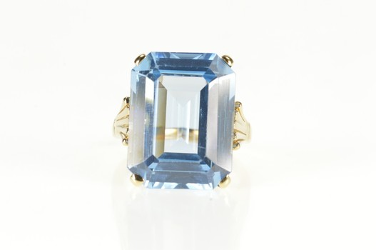 14K Emerald Syn. Blue Topaz Statement Cocktail Yellow Gold Ring, Size 6