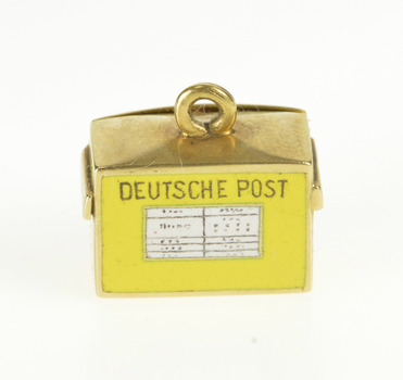 14K Enamel 3D Articulated German Mail Box Yellow Gold Charm/Pendant
