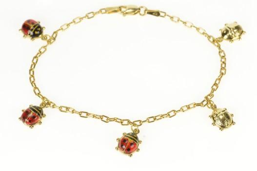 "14K Enamel 3D Lady Bug Chain Statement Yellow Gold Bracelet 7"""