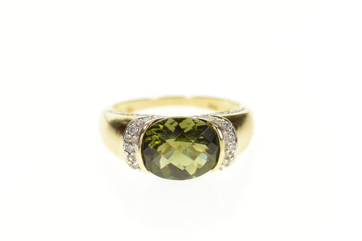 14K Faceted Green Tourmaline Diamond Encrusted Yellow Gold Ring, Size 8