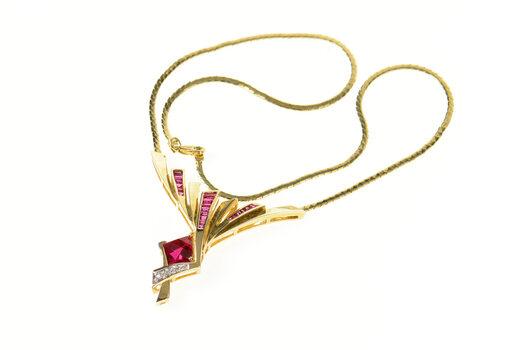 "14K Fancy Syn. Ruby Diamond Chevron Chain Yellow Gold Necklace 16"""