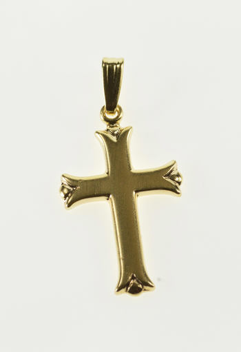 14K Fancy Trim Cross Christian Religious Symbol Yellow Gold Charm/Pendant