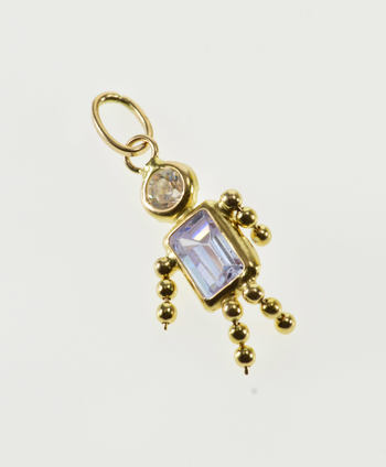14K February Purple Birthstone Baby Two Stone Yellow Gold Charm/Pendant