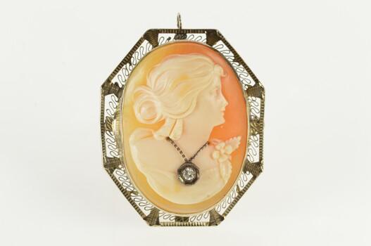 14K Filigree Diamond Necklace Victorian Cameo White Gold Pendant/Pin